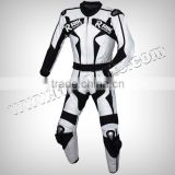 Black & White Beautiful Motorbike Real Leather Suit Motorcycle Clothing Leather Racing Suit