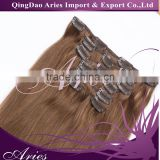Wholesale clip in hair extension REMY cheap 100% human hair dark color clip in hair extension