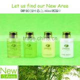 colored liquids transparent bottle pack hotel cosmetic liquids shampoo conditioner bath gel body lotion