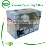 rectangle folding B flute corrugated paper products box with clear PVC window for children toy