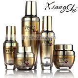 top quality fancy design cosmetic glass packaging containers with lotion pump and serum jar