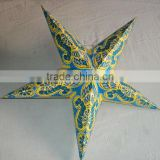 glitter printed paper star lamps indian