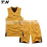 reversible mesh fabric basketball jersey yellow color