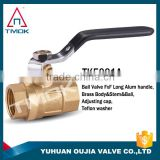 TMOK 1/2'' brass filter ball valve with union connect to water meter and compression fitting to PE pipe