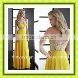 Beauty Gorgeous Empire Waist Yellow Long Slim Made In China Prom Dress Evening Gown PG-022