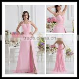 Real Sample Customized Halter A-line Beaded Pleated Floor Length Split Pink Prom Dresses xyy07-053