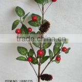 2015 newest special artificial holly and foam red berry pick branches pick for chrismas decoration pick new christmas pick