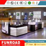 lcd display cheap cabinet plywood baking paint factory price free standing phone wall display showcase for sale