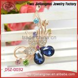 Fancy Blue Crystal Gold Plated Flower Brooch Pins for Lady