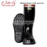 Steel Toe High Heel Rubber Safety Boots Mens