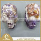 Specific handmade natural amethyst crystal skull with live chin for sale,mineral specimen