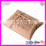 E589 Kraft Brown Pillow Gift Box Medium Size Kraft Paper Pillow Boxes