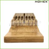 Bamboo Knife Block Holder w Excellent Carved Slots Homex BSCI/Factory