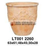 Curved Pattern White Wash Terracotta Planter For Manufacturer