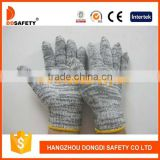 DDSAFETY 2017 7 Gauge Black And Grey Mixed Cotton Polyester String Knitted Working Gloves Safety Gloves