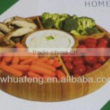 2016 Fashion bamboo round tray with ceramic bowl