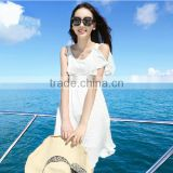 Ladies bohemia style chiffon short white color elastic waist pleated halter elegant beach dress