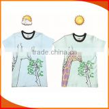 custom magic cotton men's printing uv color changing t-shirts