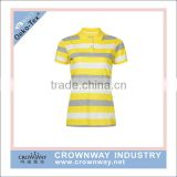 black and yellow striped women's office uniform design polo shirt