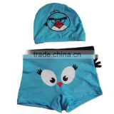 KS010B wholesale trousers cartoon boys swim brief with hat swimsuit