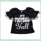 2017 wholesale baby sport shirt black puff sleeve boutique children clothing girl football top