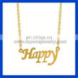 2014 alibaba wholesale happy letter personalized 14k gold my name necklace