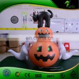 Halloween Haunted House Outdoor Decoration Inflatable Ghost Pumpkin with Wizard Inflatable Black Cat Holiday Balloon
