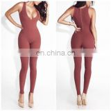 Mika72354 2017 Latest Design Popular Hot Sexy Slim Deep V Ribbed Jumpsuits Women