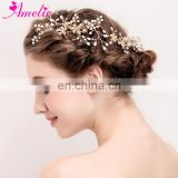 Vintage Golden Bridal Hair Comb Flower Pearl Women Headpiece Anniversary Mother Gift Prom Dresses Photo Jewelry Hair Accessories