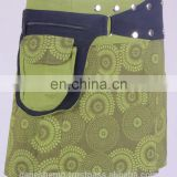 Lovely Exotic Polcka Dots Prints In Iguana Green Shade Gypsy Wrap Around Skirt With Belt HHCS 112 B
