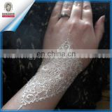 New Fashionable 2015 sexy white lace henna tattoo sticker for hands