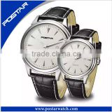 Fashion Couple Wrist Watch with Leather Band Quality Assurance