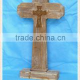 wholesale decorative antique standing wooden crosses for home&garden decor. HW15A00348