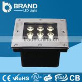 Waterproof Stainless Steel Square And Round 9W LED Square Under Ground Light, LED Square Under Ground Light 9W