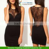 Women Sexy Elegant Black Sleeveless Lace Short Evening Dress
