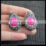 LFD-0064B Wholesale 20*30MM Druzy Pink Agate Stone Pave Rhinestone Crystal Connectors Beads For Jewelry Making Bracelet Necklace