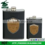 2015 Assorted Colors warped laser welding hip flasks with patch logo , stainless steel hip flask
