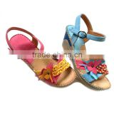 New summer fish mouth PU Mama sandals women casual shoes Beaded wedge Mama sandals flowers shoes