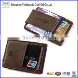 Fashion Custom Brown Genuine Crazy Horse Leather Money Clip Wallet with Magnet