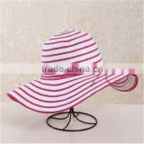 QXSH0053C Factory wholesale new summer panama beach hat Summer female striped straw hat