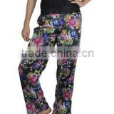 Flower Print Pants Waist Wide Leg Pants Loose Big Size Casual Palazzo Pants