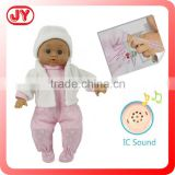 12 inch stuffed body baby mini plastic doll with 12 different IC sounds by touching hands with EN71