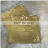 2016 Hot sale charming golden mirrored acrylic wedding invitations with white silk screen printing