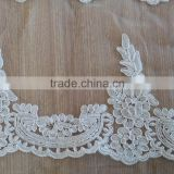 2015 white alencon lace trim in for bridal veil, headpiece, wedding gown belt