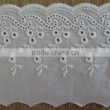 2015 Embroideried floral scallop 100% cotton eyelet lace trim                                                                         Quality Choice