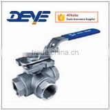Three-Way Ball Valve with Reduced Bore L type Or T Type With Mountiong Pad ISO5211 Top Flange 1000WOG