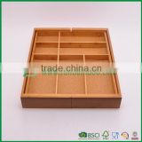 8 compartment bamboo flatware tray 2 with adjustable dimension