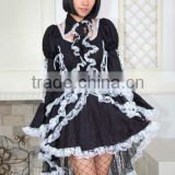 Black White Cotton Long Sleeves Ruffled Gothic Lolita Dress 61086