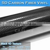 Self-adhesive 5FT*98FT Glossy Vehicle Wrap Textured Black Glossy 5D Carbon Fiber Bike Frame