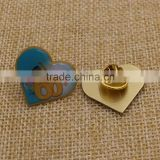 Promotion custom printing metal heart shaped pin badges